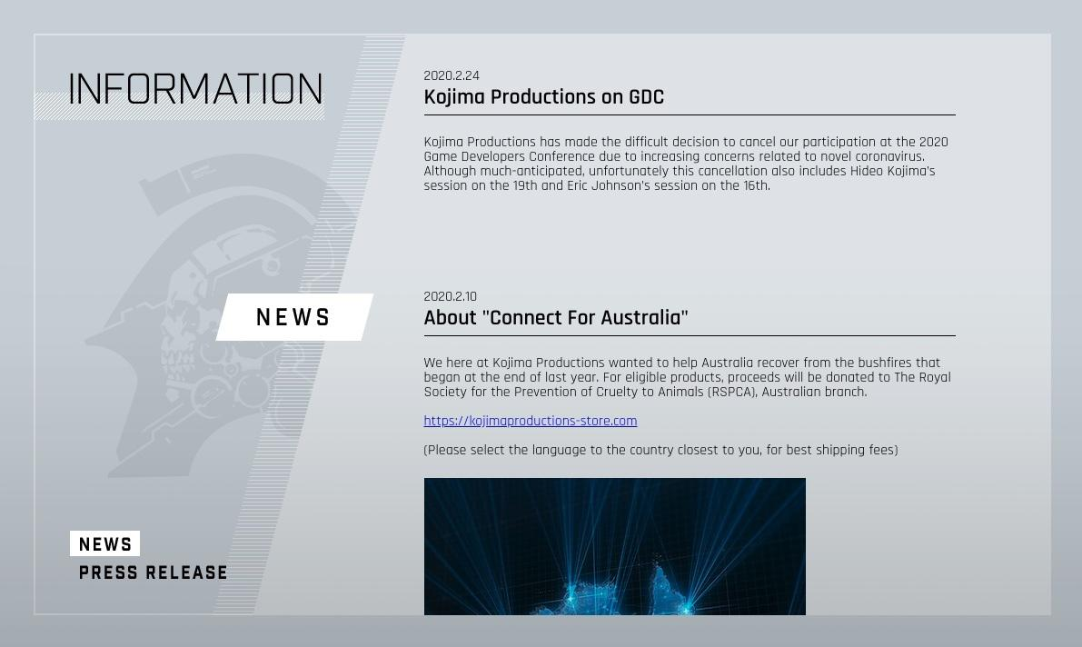 Kojima Productions 因武汉肺炎宣布不参加 GDC 并取消小岛秀夫《死亡搁浅》讲座