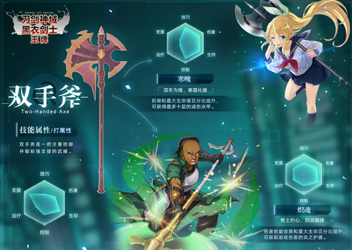刀剑神域黑衣剑士王牌双手斧技能卡怎么选 双手斧技能解析
